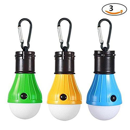 JTENG 3 Stücke Campinglampe LED mit Karabiner Tragbare Laterne Zelt Leuchtmittel Zeltlampe Glühbirne Set für Camping, - Camping-ausrüstung Zelte Und