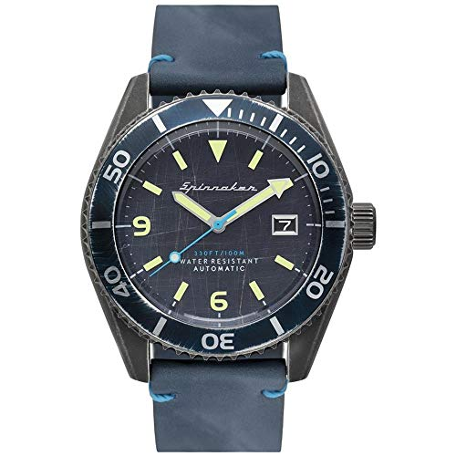 SPINNAKER Men's Wreck 43mm Black Leather Band IP Steel Case Automatic Analog Watch SP-5065-02