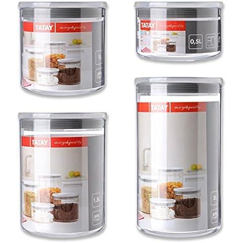 TATAY Conjunto botes de cocina trasparentes con tapon hermetico gris. 4 Medidas