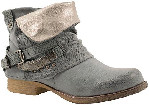 Elara Damen Biker Boots | Metallic Prints Schnallen | Nieten Stiefeletten Lederoptik | Gefüttert 344-PA-B-Blau-39
