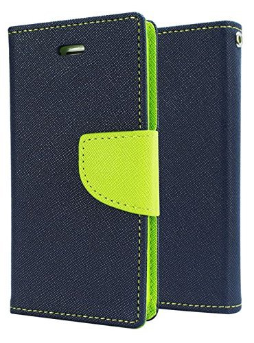 J.N. Mercury Fancy Diary Card Wallet Flip Case Back Cover For Micromax Canvas Nitro 2 E311 - Blue Green
