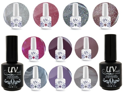 UV Nail Gel Profesionnel Collection Moonlight 4 Paillettes Vibrante+6 Gels+Base&Top+Polissoir & Lime a Ongles Aviva