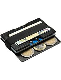 Premium Kreditkartenetui aus Aluminium mit Münzfach und Geldklammer - RFID / NFC Schutz - Slim Wallet - Filzschutz gegen Kartenabrieb - Geldbörse / Portmonee für Minimalisten
