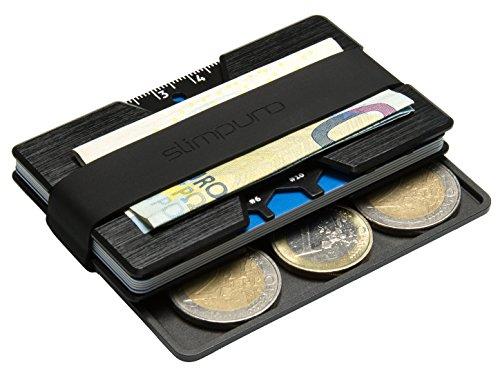 Premium Kreditkartenetui aus Aluminium mit Münzfach und Geldklammer Nano - RFID NFC Schutz - Slim Wallet Kartenetui - Filzschutz gegen Kartenabrieb - Geldbörse Portmonee für Minimalisten