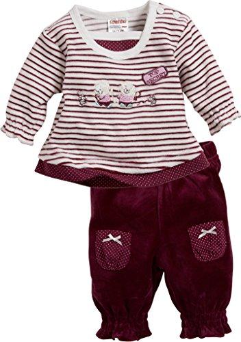 Schnizler Baby-Mädchen Jogginganzug Nicki Top Secret, 2-teilig Langarmshirt und Hose, Oeko-Tex Standard 100 Rot (Bordeaux 9) 62