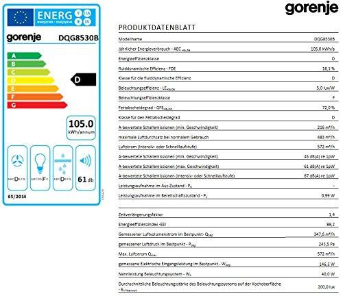 Gorenje DQG 8530 B Kaminhaube / 80 cm/Ab- oder Umluftbetrieb möglich/schwarzes Glas/Edelstahl