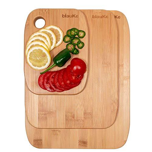 Taglieri per cucina in legno di bamboo - set di 3 taglieri da cucina in legno (piccolo, medio e grande) - tagliere per cucina in legno di bambù, ecologico, antibatterico, utensili per cucina - blauke