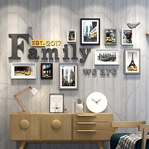 HJKY Familie Wall Set von 9 Familie einfache moderne Möbel aus Wörtern Picture Tapetensticker Familienzimmer Kunst Dekoration, Schwarz und Weiß Grau -