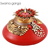 [Sponsored]Swarna Ganga - Handcrafted Festive Décor Floating Diya Pot / T - Light Candle Holder With Swarnam / Traditional Diwali Décor Pot / Pooja Pot With T Light Holder / Navratri Ghutt Pot