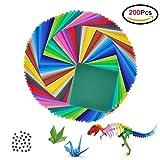 Jingxu 200 Blatt Origami Papier Faltblätter 20*20cm Faltpapier sortiert im 50 Farben Buntes Papier mit 100 Stück Augen Bastelpapier Set für Kinder,Origami und Bastelprojekte
