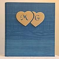 Album fotografico innamorati carta effetto legno blu + cuori legno e iniziali personalizzabili WEDDING- SAN VALENTINO- ANNIVERSARIO regalo