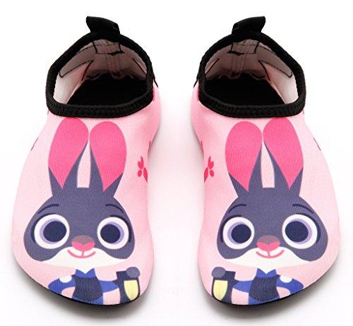 (Santimon Aquaschuhe Barfuß Schuhe Schwimmschuhe Badeschuhe Wasserschuhe Surfschuhe Sportschuhe für Kinder Pink 24/25 EU)