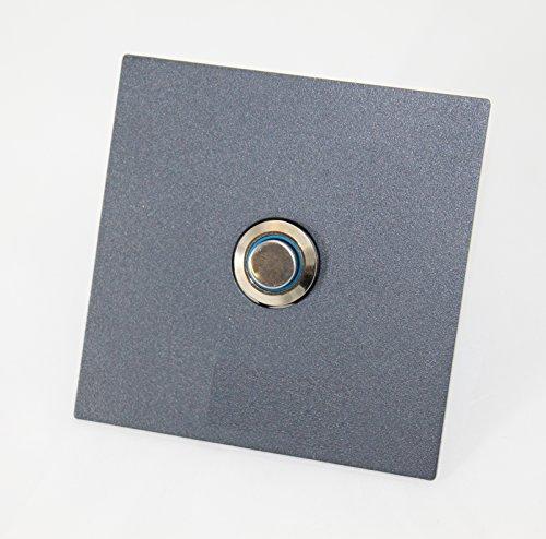 Preisvergleich Produktbild Thorwa® Design Edelstahl Klingelplatte Türklingel Klingeltaster Klingel - 8cm x 8cm (B x H) - mit LED Leuchtring (quadratisch) (anthrazit | pulverbeschichtet)