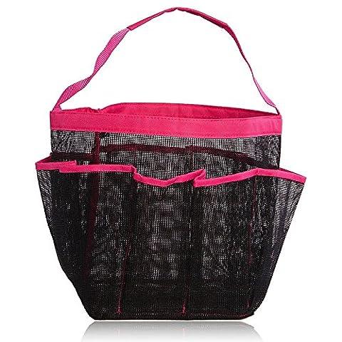 Lugii Cube Parfait Sac de voyage portable en maille filet Douche Tote à séchage rapide et organiseur de bain de toilette à suspendre avec 8poches de rangement Rose rouge