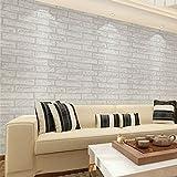 Hexawata 1PC PVC Self Adhesive Wallpaper Waterproof Brick Stone Decorative Wall Stickers 45cmx100cm (Style D)
