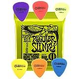 Ernie Ball Regular Slinky Saiten für E-Gitarre 10–46Sprache + 6Plektren