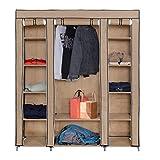 Mari Home - Roston Kleiderschrank, Beige, Canvas, Metallgestell, Schlafzimmermöbelstück, faltbar, Aufbewahrungsschrank, leichter Kleiderschrank inkl. 5 Kleiderbügeln