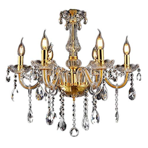 SAILUN® Kristall Kronleuchter Klassisch Hängeleuchte Golden Pendelleuchte Deckenleuchte antik Messing Kristall Lüster 6-flammig E14 (6 Lichter) -