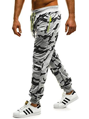 ozonee Uomo Jogging Pantaloni tempo libero sport Pantaloni Jogging Jogger Pantaloni Pantaloni da ginnastica fitness mimetico 1232 GRIGIO_ozonee -1232