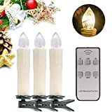 YAOBLUESEA 30stk Weinachten LED Kerzen Lichterkette Kabellos Weihnachtskerzen Christbaumschmuck Weihnachtsbaumbeleuchtung mit Fernbedienung Kabellos für Weihnachtsbaum Weihnachtsdeko Hochzeit