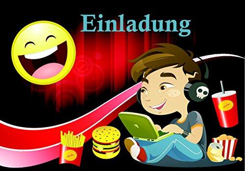 Smiley Emoji Einladungskarten für Kinder-Geburtstag 12 Stück im Set Geburtstags-Party für Jungen und Mädchen Übernachtungsparty