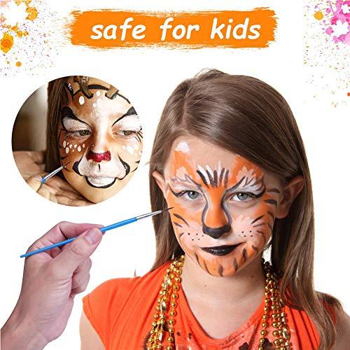 Pintura Corporal y Facial,  Kit de Pintura Facial,  Face Body Painting,  Adecuada para Niños y Adultos,  Maquillaje de Fiesta,  Cumpleaños,  Halloween,  Navidad, 2 Plantillas 15 Colores Lavables 4 Pinceles