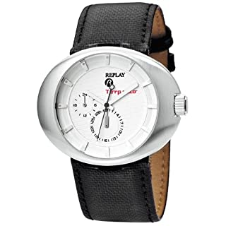 Replay RX5201AH Men's Analog Quartz Watch with Date Indicator and Black Leather Strap