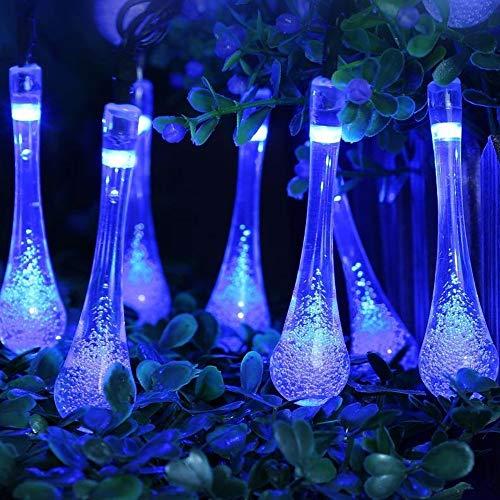 ette Solar, String Lights 6M 30pc Wasserdicht Outdoor Garden Wassertropfen Licht LED Innen/Außen Hochzeit Party Halloween Weihnachten Haus Deko (Blau) ()