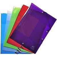 Exacompta - Réf. 56701E - Lot de 5 chemises à élastique 3 rabats Polypropylène 5/10e Crystal Colours - A4 - couleurs assorties