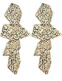 AFCITY Damen Ohrringe Lilie   White Zinklegierung gehämmert Oberfläche  Coole Ohrringe Nachahmung Schmuck Gold geometrische Ohrstecker 8e27d6387d