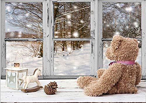 Ventana de oso de juguete nieve blanca pintura diamante 5d punto de cruz bordado Craft Decoración del hogar DIY Kits de Pintura de Diamante Navidad Taladro Completo Artes Artesaní 35 * 45cm