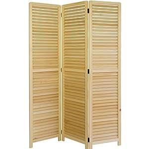Paravent 3 panneaux en bois naturel 120x170cm PAR06022