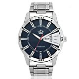 #7: LimeStone Day and Date Round Casual Analog Silver Strap & Blue Dial Wrist Watch for Men's/Boy's