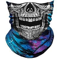 AXBXCX Skull Skeleton Face Mask Ghost Neck Gaiter Headband Raves Halloween One Size Blue
