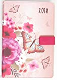 2018–Agenda Organiser pagina a day mensile Index tessuto look–Farfalla rosa