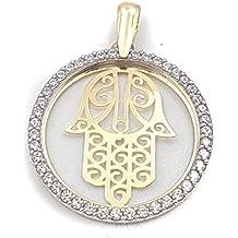Colgante de moda para mujer en oro de 18 kilates de 1ª ley 750 milésimas, medalla calada con filo oro blanco con circonitas y centro con mano de fátima en oro amarillo