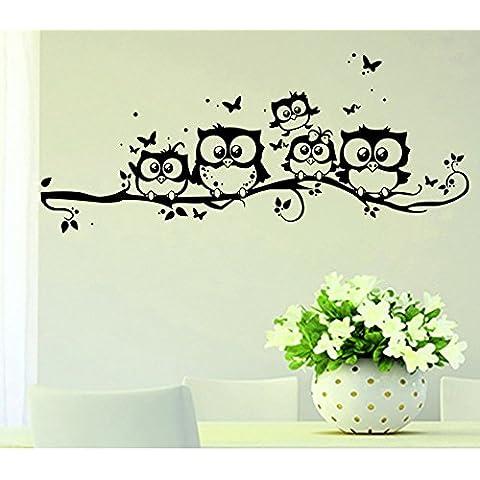 Ufengke® Carta del Taglio Stile Cinque Gufi Adesivi Murali,Camera da Letto Soggiorno Adesivi da Parete Removibili/Stickers Murali/Decorazione Murale - 0,25 Adesivo
