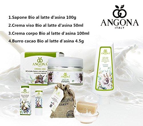 Geschenksets Organische Eselmilch in Italien: Organische Esel Milchseife100g + Bio Esel Milch Gesichtscreme50ml + Organische Esel Milch Körper Milch 100ml + Organische Esel Milch Kakaobutter4.5ml - Gesicht Milch Esel