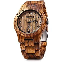 Leopard Shop Bewell ZS-w086b Herren Armbanduhr Holz Quarz Analog Datum Display Zebra