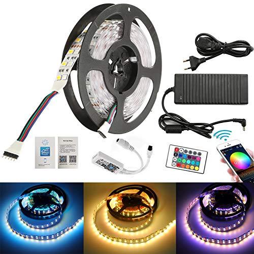 FVTLED 5M Zwei Reihen LED Streifen Lichterkette (RGB+Warmweiß) 600 LEDs (SMD 5050) Led Band Lichtleiste Mit Wifi Fernbedienung,10A 120W Netzteil Trafo -