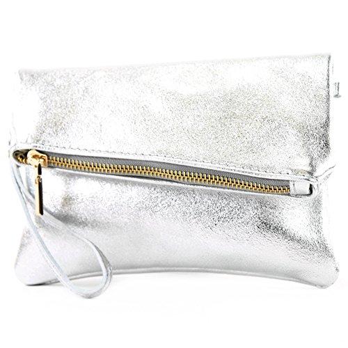modamoda de -. ital petites dames de sac d'épaule de sac en cuir d'embrayage poignet Sac en cuir T95, Präzise Farbe (nur Farbe):Silber-Metallic