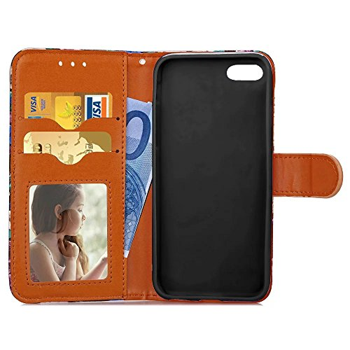 iPhone Case Cover Abstraktes Blumenmuster TPU PU-Leder-Abdeckungs-Fall-Retro- Folio-Schlag-Wallet-Standplatz-Fall mit Karten-Schlitz-Foto-Feld für IPhone 6 ( Color : 3 , Size : IPhone 6 ) 1