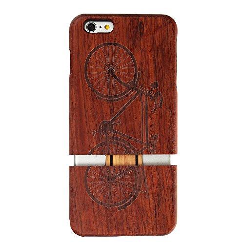 Coque iPhone 6/6s Anti Choc Case en Bois Naturel Forepin® Réel Etui Couvert et Housse en Wood Dur dans Motif de Sculpté élégante Protecteur pour iPhone 6/6s (Aigle) Vélo