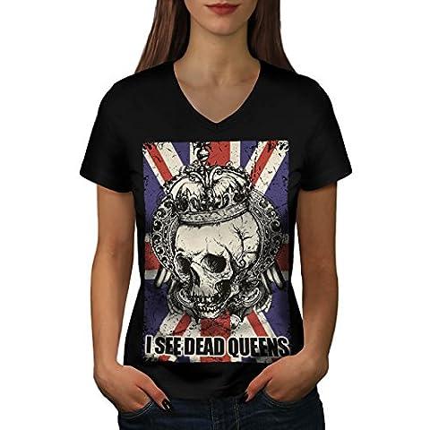 Schädel Tot Königin Metall Vereinigtes Königreich Skelett Vereinigtes Königreich Damen M V-Ausschnitt T-shirt | Wellcoda