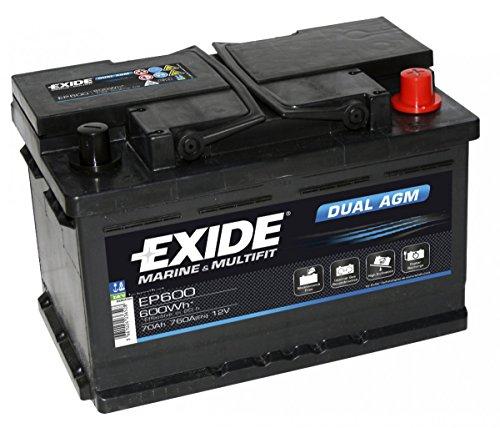 Exide EP600Dual AGM Leisure marine batteria 70Ah
