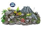 Nobby Volcan avec Dinosaures Décoration pour Aquarium 33 x 21,5 x 10 cm