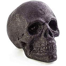 showking Calavera decorativa de Halloween Garry, Negro, Leds, 35x29 cm - Cráneo Decorativo