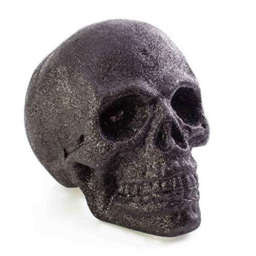 showking Halloween Totenkopf Garry, schwarz, LEDs, 21 x 15 cm - Deko Toten Schädel