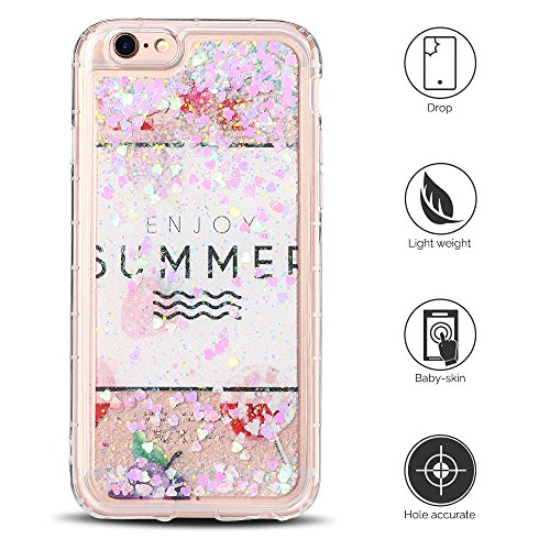 Cover iPhone 6 Custodia iPhone 6s Liquido Anfire Trasparente Rigida Duro Plastica Gel Case per Apple iPhone 6/6s (4.7 Pollici) Morbida Silicone Sabbie Mobili Shell 3D Bling Glitter Cuore Floating Quic Rosa