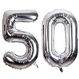 SMARCY Luftballon Nummer 50 Zum 50. Geburtstag Folienballon Dekoration von 50 ans (Silber)